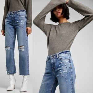 Zara Pearl Embellished Straight Boyfriend Jeans